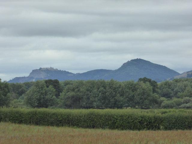 The Breidden Hills viewed from Dyffryn Lane burial mound near Berriew