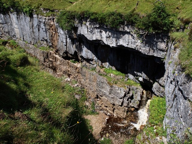 Hull Pot underground stream emerges