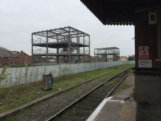 Steel frames for buildings on the Avenue station site, Royal Leamington Spa
