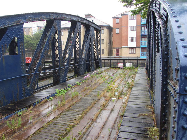 Severed swing bridge at Swansea's South Dock