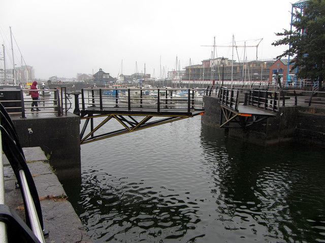 Opening swingbridge at Swansea Marina