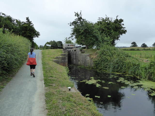 Walking the towpath of the Montgomeryshire Canal at Berriew Lock