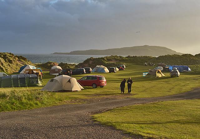 Evening light over Sands campsite