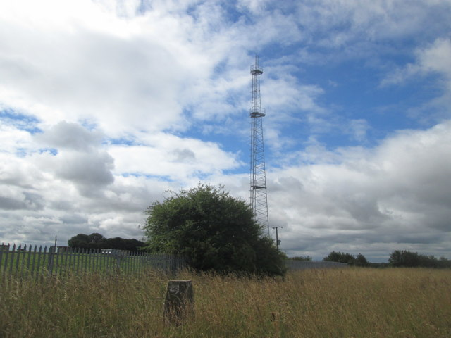 Trig point and mast on Golden Hill