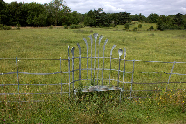 Chair in the fence near Norbury Park Farm