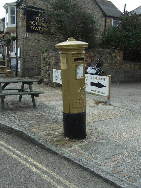 Golden George VI postbox on Quay Street, Penzance
