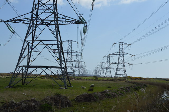 Two lines of pylons