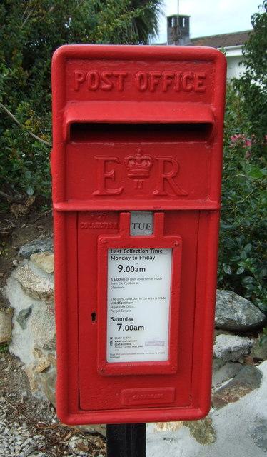 Close up, Elizabeth II postbox on Mellanear Road, Hayle