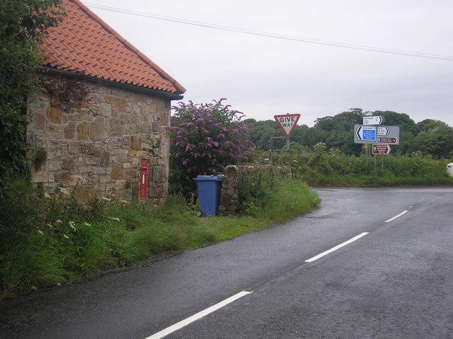 Road junction and pillar box
