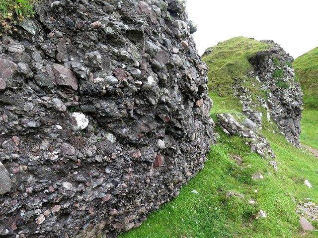 Conglomerate outcrops below Gylen Castle