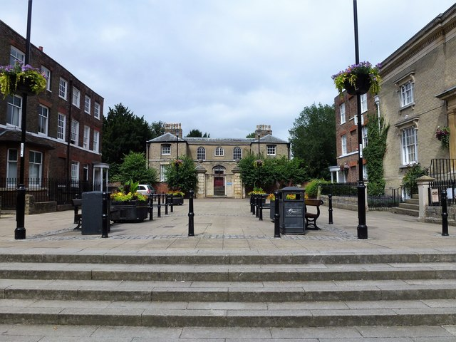 The Castle in Wisbech - A view through Museum Square