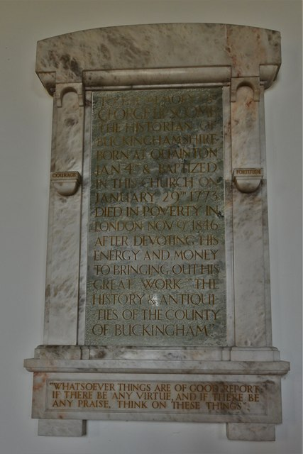 Quainton, Holy Cross and St. Mary Church: Memorial to George Lipscomb, historian of Buckinghamshire