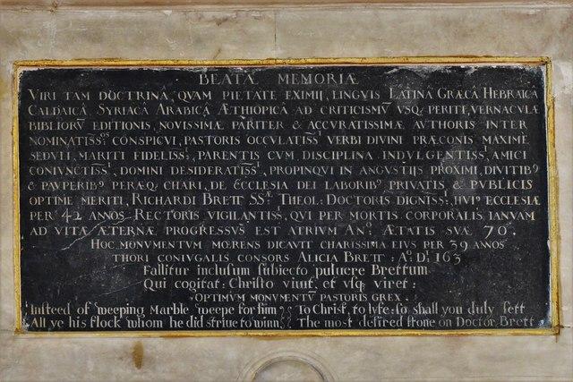 Quainton, Holy Cross and St. Mary Church: Dr. Richard Brett (d.1637) memorial 4