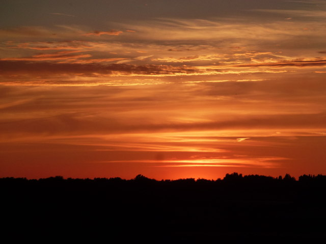 Spectacular sunset over The Fens