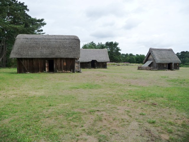 Three houses, West Stow Anglo-Saxon village