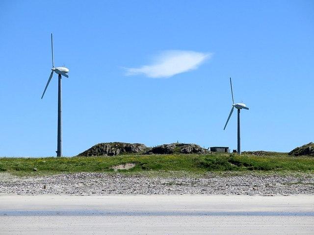 Wind turbines and cloud, Balephetrish