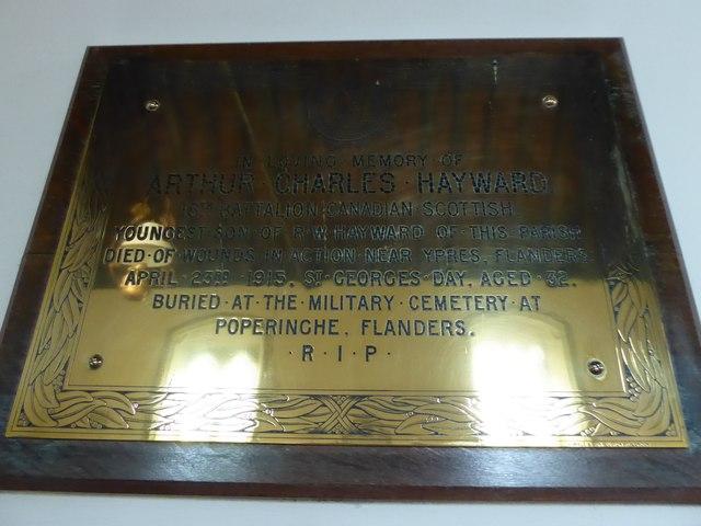St Oswald, Hooe: memorial (c)