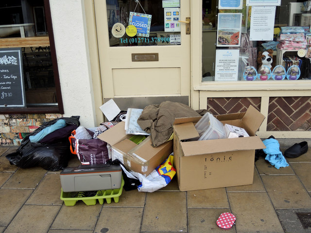 Donations left outside a charity shop over the weekend