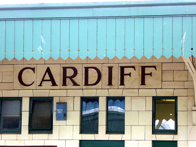 Roman seriffed lettering on Cardiff station