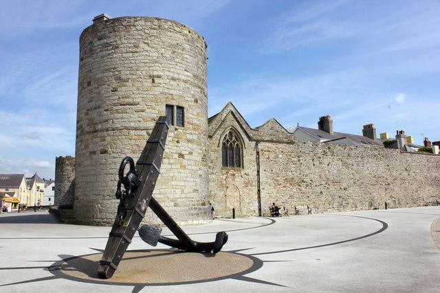 The Anchor of HMS Conway and Caernarfon City Walls