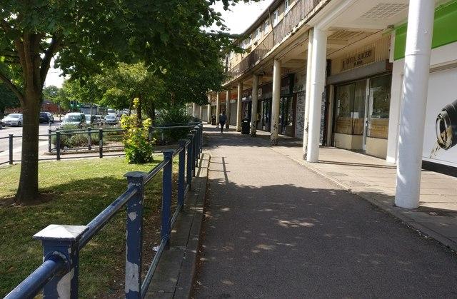 Crescent of shops on Aikman Avenue