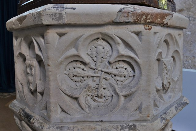 North Marston, St. Mary's Church: The font 2 (detail)
