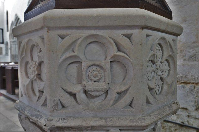 North Marston, St. Mary's Church: The font 4 (detail)