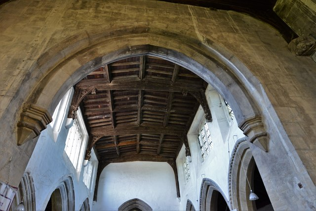 North Marston, St. Mary's Church: The nave roof from the chancel arch