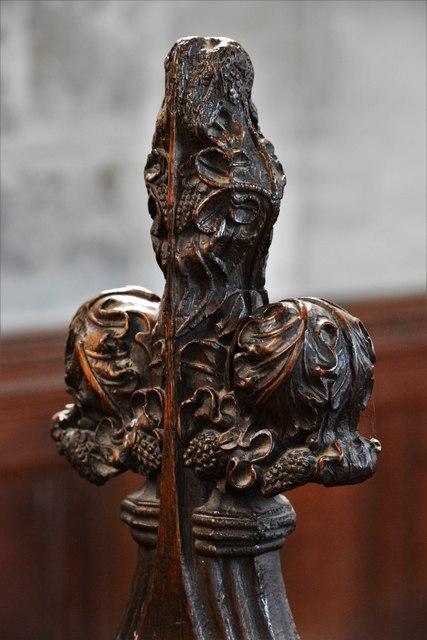 North Marston, St. Mary's Church: Medieval poppyhead in the choir stalls