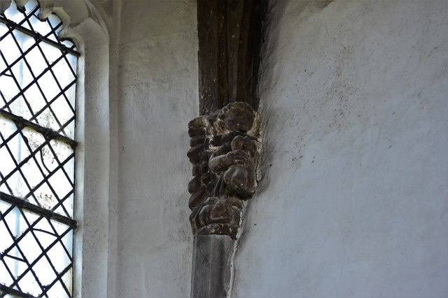North Marston, St. Mary's Church: Wooden roof corbel 3
