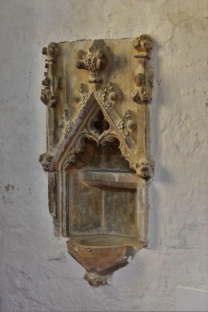 North Marston, St. Mary's Church: Shrine of John Schorne (d.1314) 1, piscina