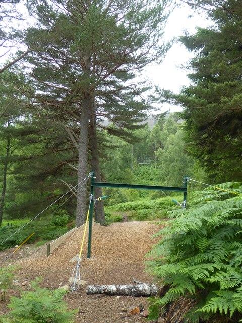 Zip wire in woodland at Allt-na-Criche