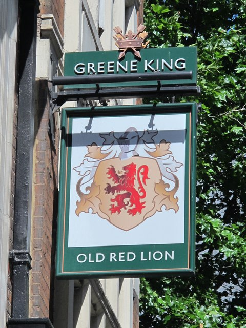 Sign for The Old Red Lion, High Holborn / Red Lion Street, WC1