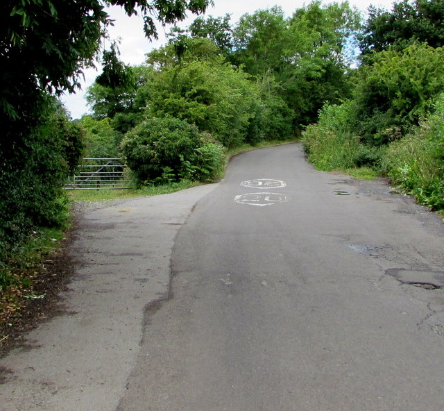 Frome Valley Walkway diverges from Nibley Lane near Iron Acton, South Gloucestershire