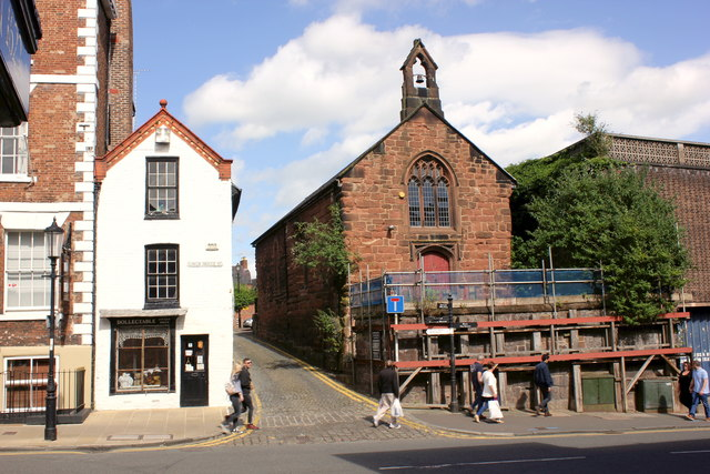 13a Lower Bridge Street and St Olave's Church, Chester