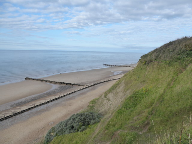 Looking down to Overstrand beach
