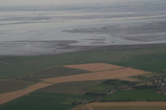 Gedney Drove End; Wash and saltmarshes at low tide: aerial 2017