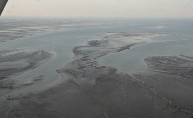 Wash at low tide, south of The Haven: aerial 2017