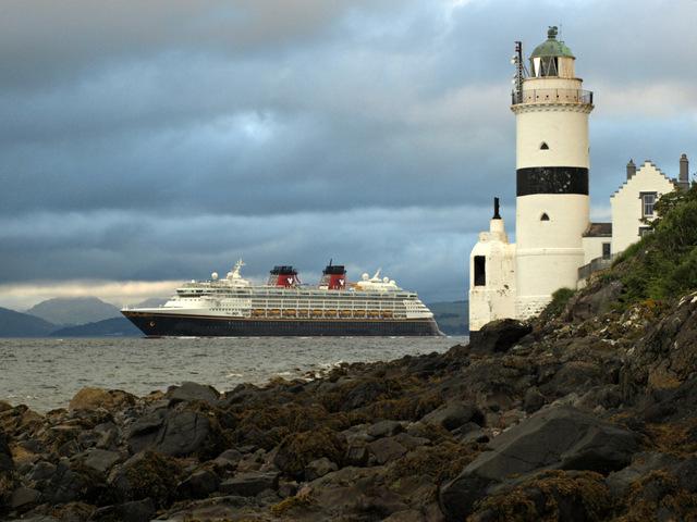 Disney Magic passing Cloch Lighthouse