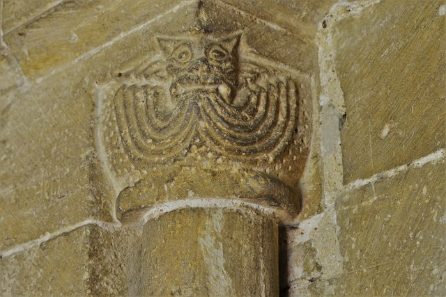 Stewkley, St. Michael's Church: Cat-like figure on the south doorway