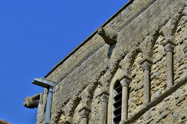 Stewkley, St. Michael's Church: Blind arcading and zig-zag moulding on the tower