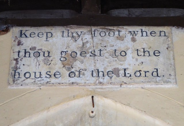 St Mary's, Chilton Foliat: text over the south porch