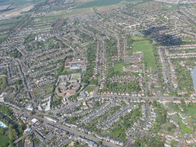 Flying over Cambridge