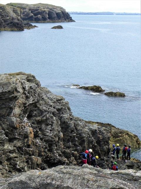 Coasteering group near Porth Ruffydd