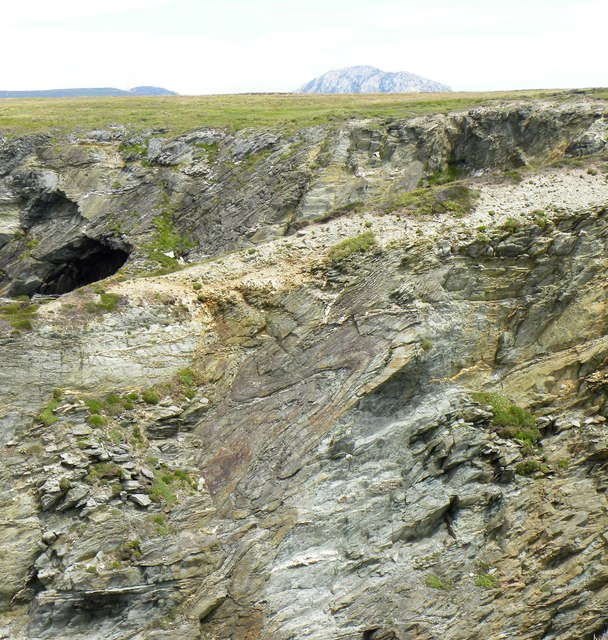 Detail of folded strata on the cliffs