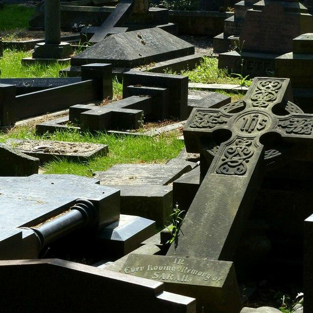Fallen crosses, Heanor Cemetery