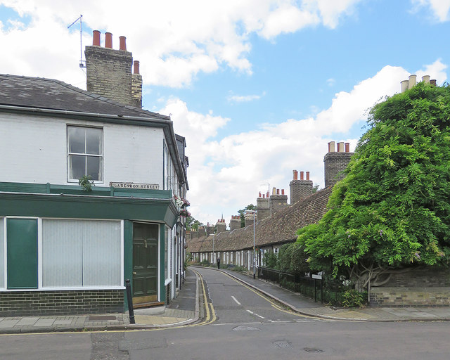 Cambridge: the corner of Clarendon Street and Orchard Street