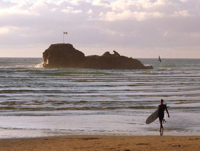 Surfer at Chapel Rock, Perran Sands