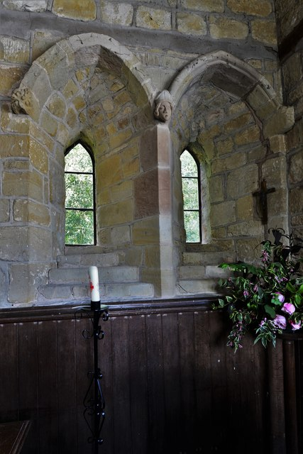 Abberley, St. Michael's Old Church: Two north windows in the chancel