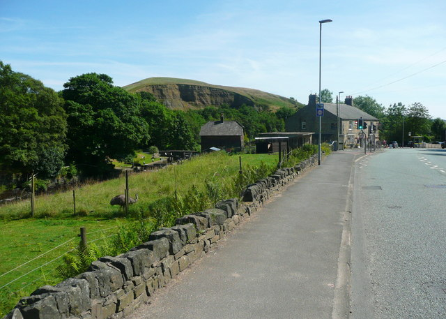 Todmorden Road, Summit, with quarry in the distance